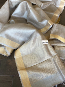 Tussar Silk - Grey Beige Golden Zari