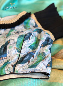 Designer Blouse - Sea Green Bird Design