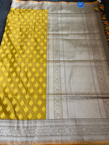 Pure Katan Silk Banarasi - Ochre Yellow Antique Zari