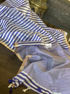 Pure Chanderi Silk - Offwhite Purple Resham Stripes