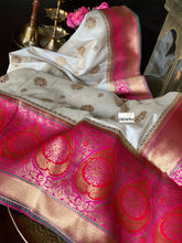 Soft Silk Banarasi - Offwhite Magenta Antique Golden Zari