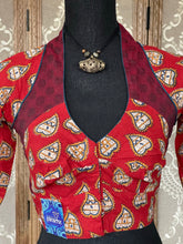 Designer Blouse - Red Maroon Blue White