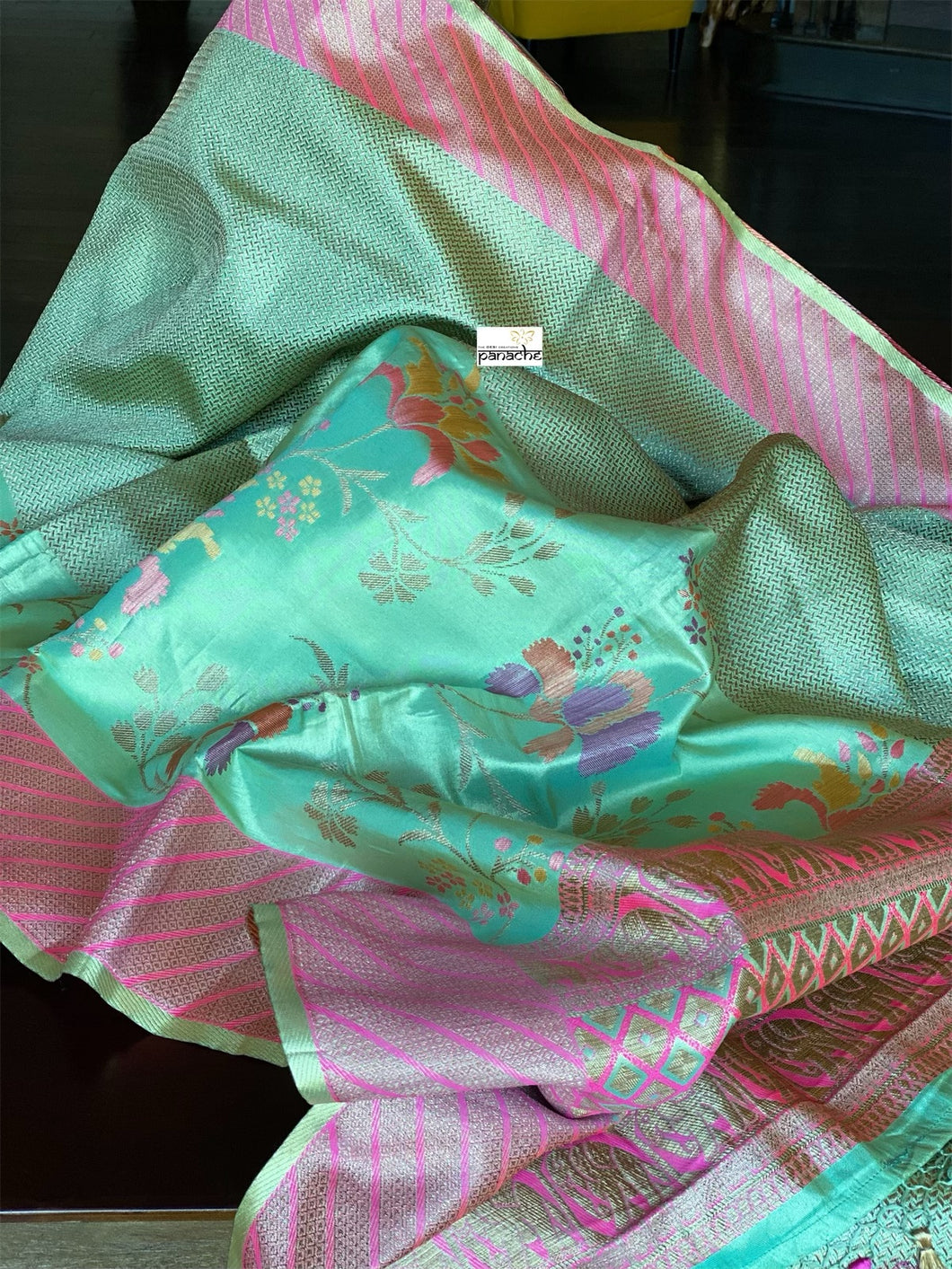 Tissue Silk Banarasi- Sea Green Brocade