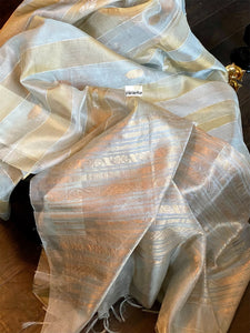 Pure Tissue Silk - Silver Body Golden Striped