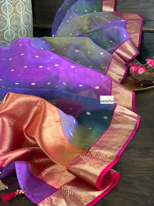 Pure Chanderi Organza Silk - Shaded Purple Magenta Golden Zari