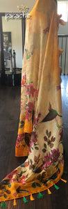 Pure Silk Linen Digital Print - Fire Yellow Multi color floral