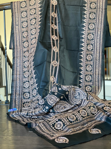 Bangalore Silk Kantha Stitch - Black