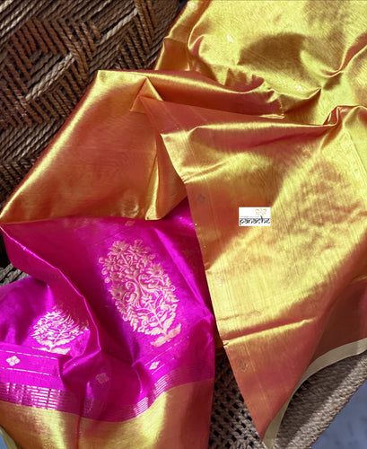 Pure Silk Chanderi Dupatta - Yellow Pink Handwoven