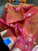 Pure Chanderi Organza Silk - Orange Magenta Dual Shaded Eknaliya Golden Zari