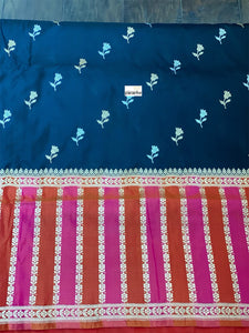 Pure Silk Katan Banarasi - Black Magenta Orange