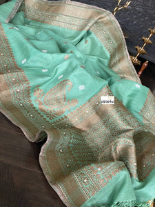 Pure Tassur Silk Banarasi - Light Teal Green Antique Zari