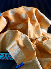 Cotton Silk Banaras Chanderi- Peach Yellow Golden Zari