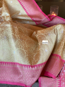Pure Katan Silk Banarasi - Light Butter Yellow Golden Zari woven