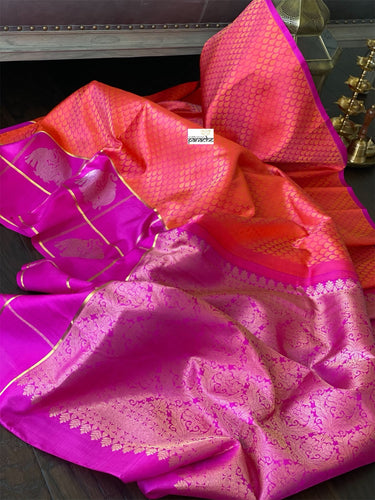 Silk Kanjivaram - Pink Orange Dual Shaded