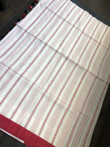 Pure Khadi Handloom - Off White Red Black Border