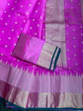 Pure Chanderi Silk - Magenta Pink Green Golden Silver Zari Woven