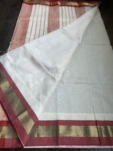 Maheshwari Silk Cotton - Offwhite Red