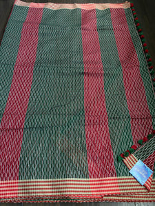 Cotton Silk - Green Red