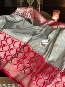 Pure Katan Silk Banarasi - Grey Red