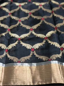 Pure Chanderi Silk - Black Zari Jaal weave