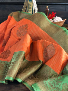 Tussar Silk Banarsi - Orange Green
