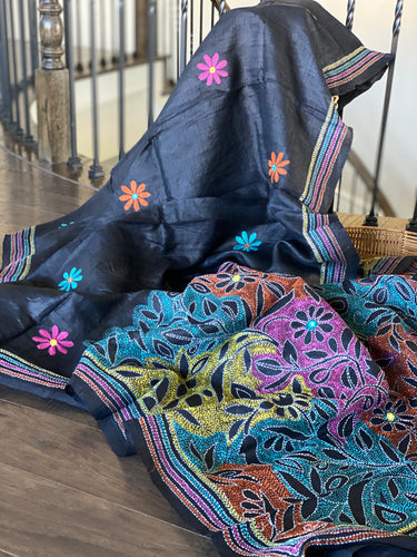 Pure Tussar Silk Kantha Stitch - Black