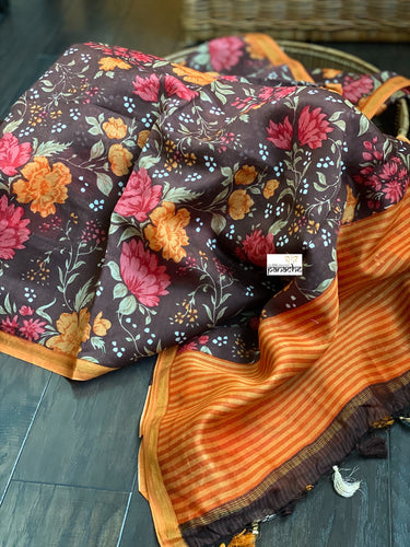 Cotton Mulmul Floral - Chocolate Brown