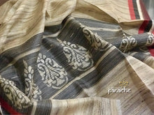 Tussar Shawl - Beige and Black