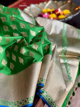 Silk Banarasi - Green Silver Golden Zari