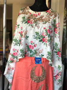 Skirt Blouse Set - Floral Top and Bottom