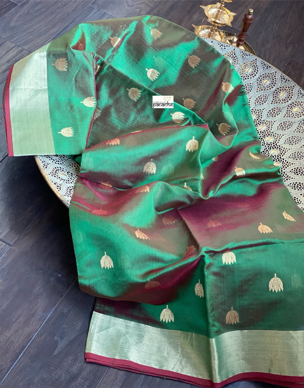 Pure Chanderi Silk - Green Dual Shaded Golden Zari