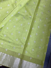 Chanderi Silk Cotton - Pista Green Silver Zari