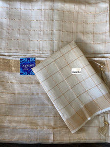 Tussar Silk - Beige Golden Zari checks