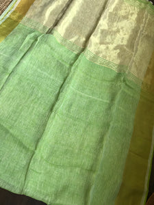 Linen - Pista Green Broad Golden Border