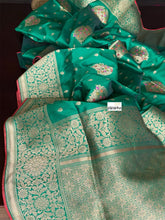 Soft Silk Banarasi - Green Antique Golden Zari