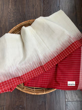 Pure Khadi Cotton Handloom - Off White Red-Border Woven