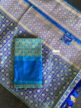 Katan Silk Banarasi - Metallic Blue checkered