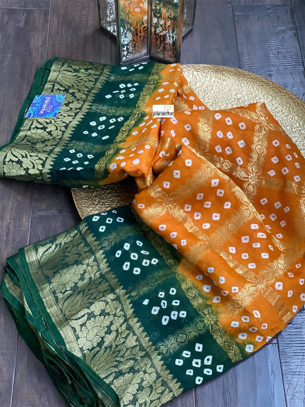 Georgette Silk Bandhej Print - Orange Green