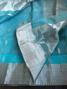 Chanderi Katan Silk - Light Blue Silver Zari