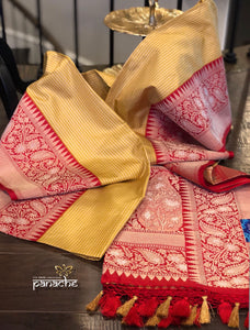 Katan Silk Banarasi - Off-white Yellow Checks