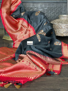 Pure Tassur Silk Banarasi - Black Red Temple border
