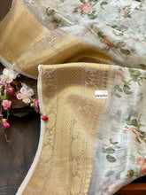 Banarasi Organza Floral - Off White Golden Zari Checks