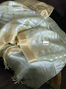 Organza Silk Banarsi - Light Lemon Yellow