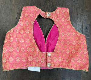Designer Blouse - Pink Golden Zari Brocade