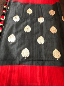 Tussar Silk Banarasi - Slate Black Red