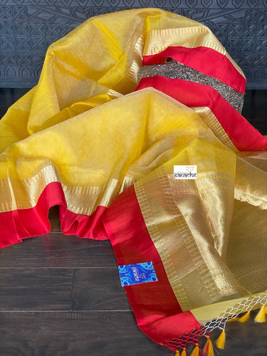 Kora Silk Banarasi - Yellow Red woven