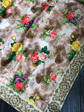 Designer Floral Satin Silk - Peach Brown