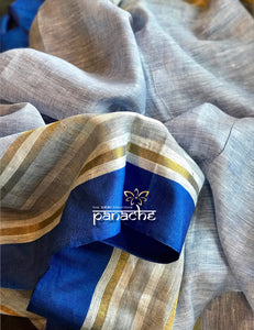 Linen Handloom - Light Blue Striped Border