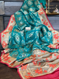 Tussar Georgette Banarasi- Teal Blue Orange Paithani border