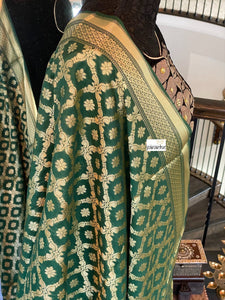 Silk Cotton Dupatta - Dark Green